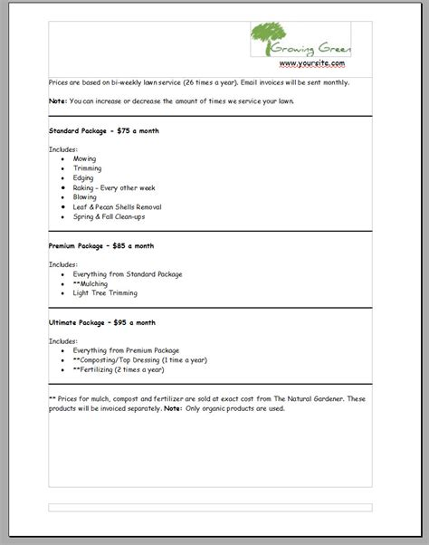 lawn care bid forms lawn care contract form proposal gse bookbinder