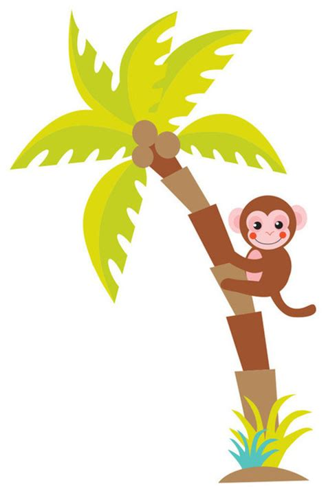 Sunny decals palm tree fabric wall decal with monkey wall decals houzz
