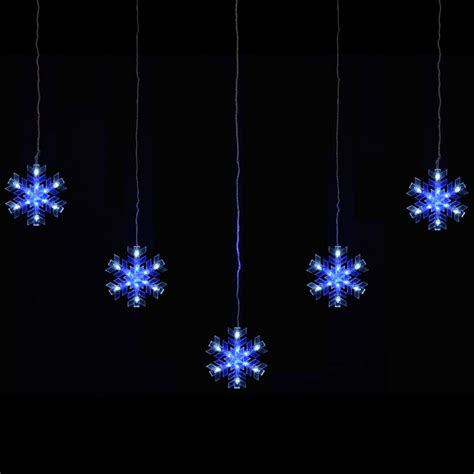 Snowflake Outdoor Lights Mains Voltage 5 Snowflake Curtain Festive Outdoor Blue White Led Lights