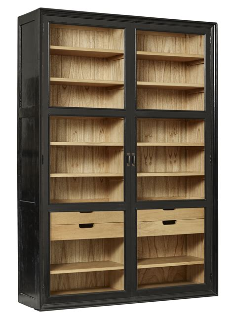 cabinet with glass doors and drawers viva cabinet w glass doors drawers black nordal eu