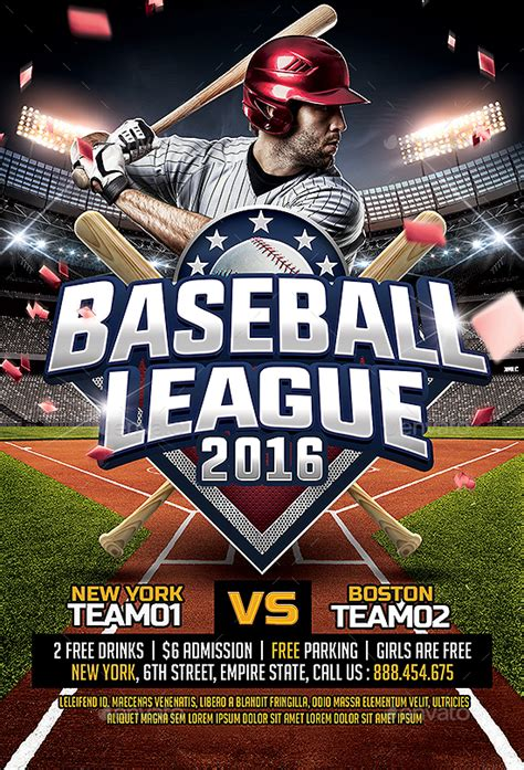 Baseball League Flyer Template By Smashingflyers Graphicriver Baseball League Website Template