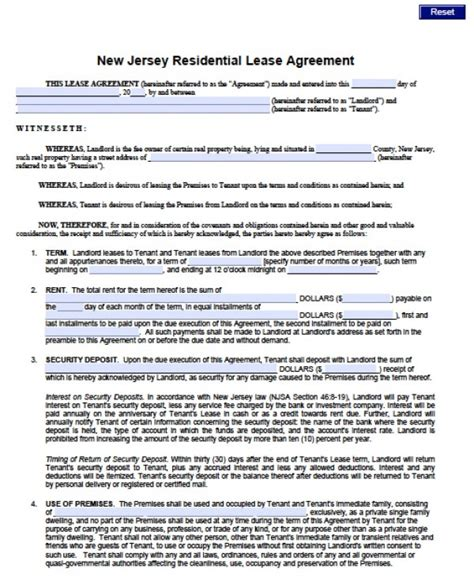 Free New Jersey Standard Residential Lease Agreement 1 Year Pdf Word Doc Month To Month Lease Nj Template