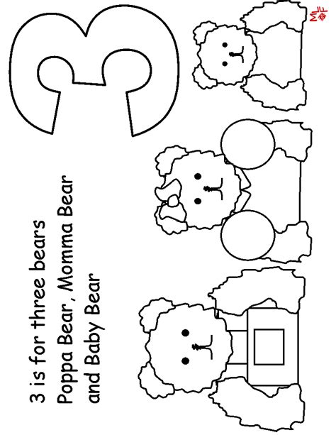 free goldilocks and 3 bears coloring pages