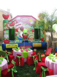 Table And Chair Rental Near Me Strawberry Short Cake Theme Birthday Party Table Set Up