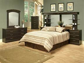 4 espresso finish wall unit bedroom set