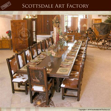 custom  pc lodge dining set rustic handcarved table