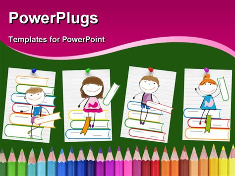 free powerpoint templates children happy colorful on many colorful books powerpoint