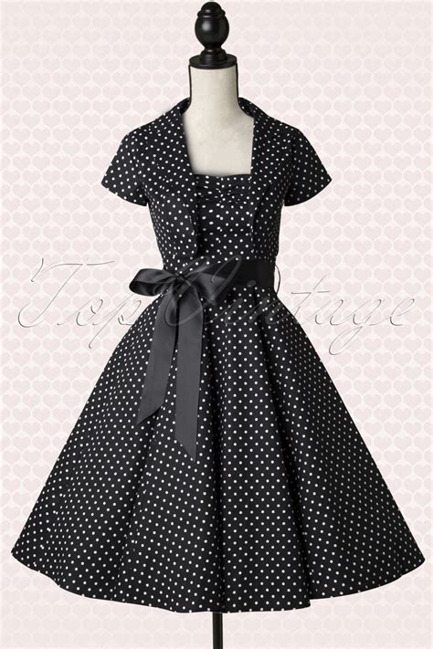 Bolero Swing by 50s Small Dot Bolero Swing Dress In Black And White