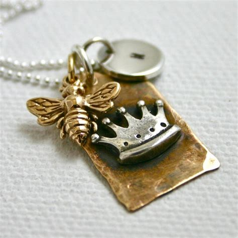 Personalized queen bee necklace crown tag with bee and hand stamped