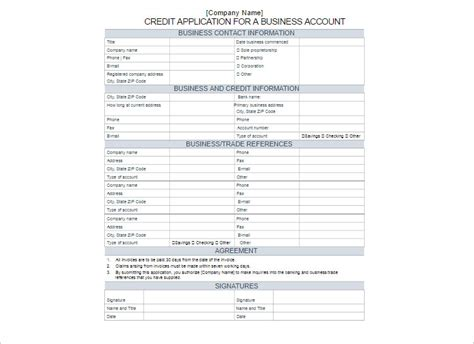 Simple Credit Account Application Form Template 24 credit application form templates free word pdf