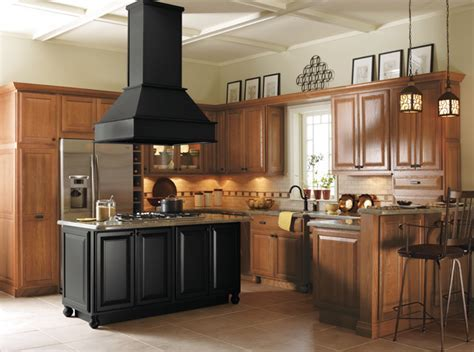 Light Oak Cabinets with Black Kitchen Island   Kitchen
