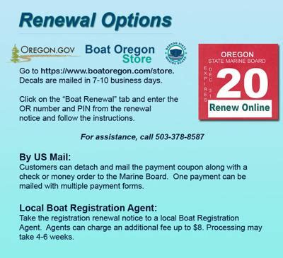 oregon boat registration oregon state marine board sends boat registration renewal