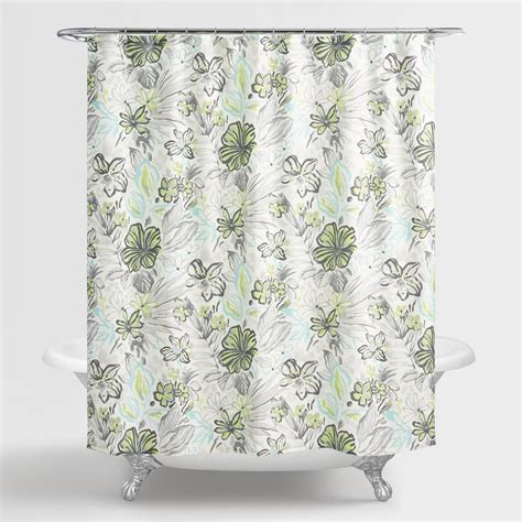 green floral shower curtain aqua and green underwater floral valeda shower curtain