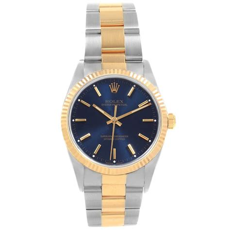 rolex oyster perpetual steel yellow gold blue dial mens