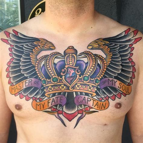 diamond tattoo under chest crown and wings chest piece remington tattoo parlor