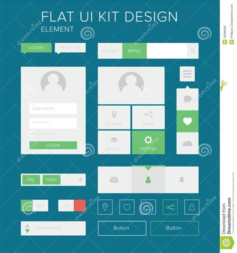 Design Menu Buttons   flat ui kit design elements set for webdesign stock vector