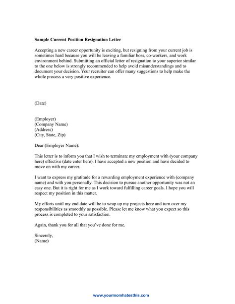 Resignation Letter New Position Dos And Don Ts For A Resignation Letter