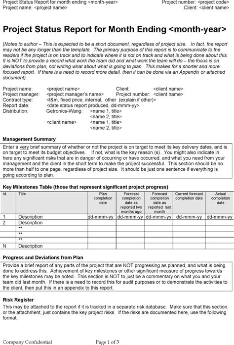 quarterly status report template project status report template free premium