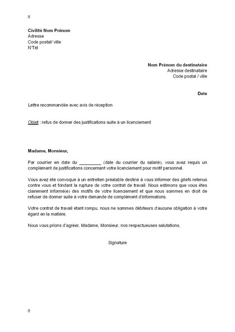 Mod Le De Lettre De Refus De Demande D Emploi Exemple Gratuit De Lettre Refus Par Employeur Donner Justifications Suite 224 Licenciement