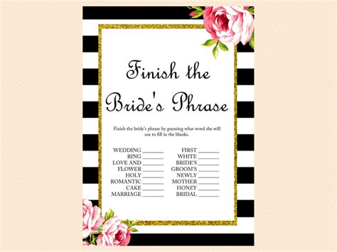 free printable unique bridal shower games black and white floral bridal shower games magical printable