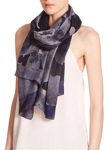 armani floral silk scarf in blue lyst
