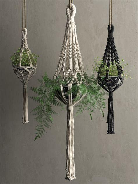 Hanging Macrame - macrame hanging pots with plants