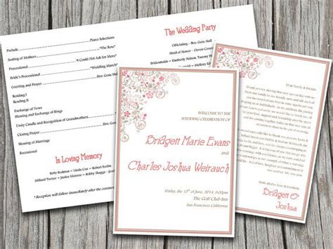 half fold wedding program template half fold vintage floral flourish wedding program template