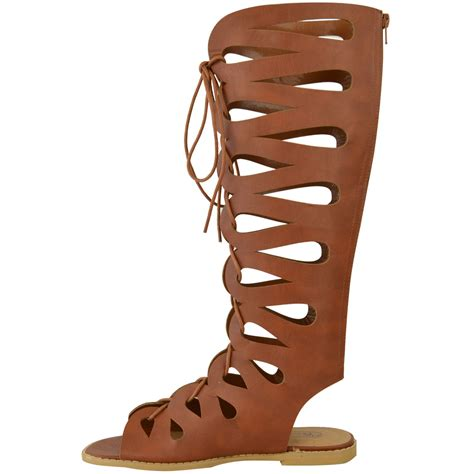 knee high strappy sandals womens flat knee high gladiator sandals strappy