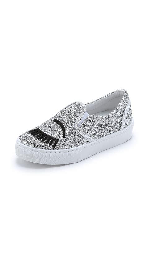 chiara ferragni glitter sneakers chiara ferragni glitter slip on sneakers silver in