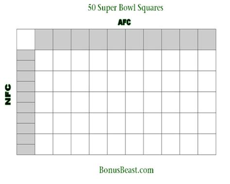 Office Football Pool 25 Squares Print Superbowl Square Grid 50 Boxes Office Pool Football