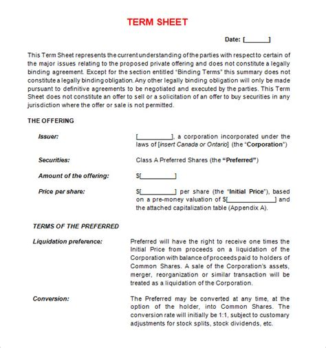 non binding term sheet template term sheet template 11 free documents in pdf