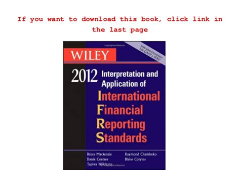 international financial reporting standards book free wiley ifrs 2012 2012 interpretation and application