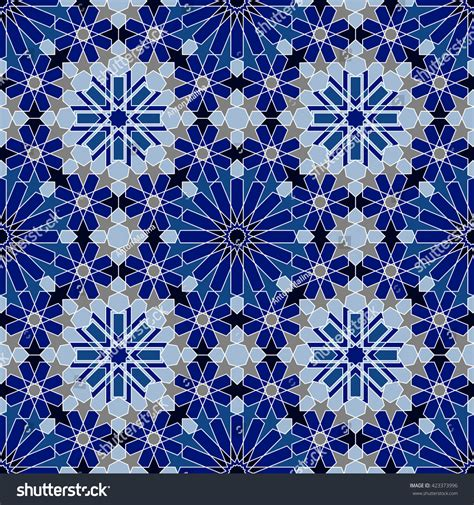 blue islamic pattern moroccan tile texture islamic seamless pattern stock