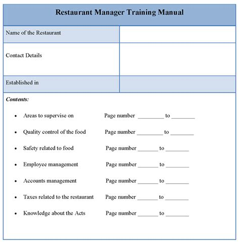 manual template for restaurant manager training format of