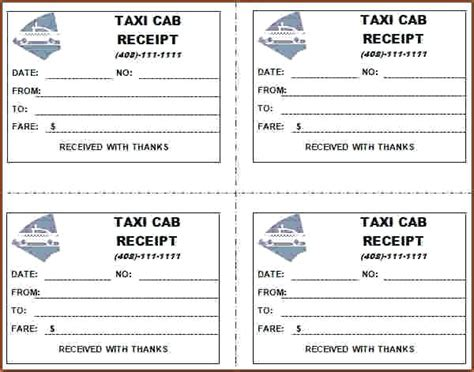 nyc taxi receipt template blank taxi receipts 7 taxi receipt templates word excel