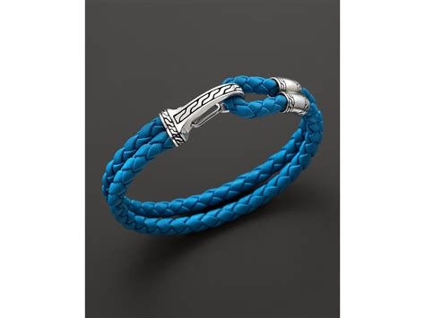 John hardy Men's Classic Chain Silver Hook Station Bracelet On Turquoise Blue Leather Cord in