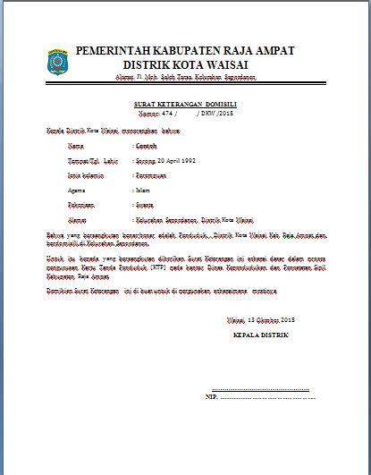 contoh surat keterangan domisili distrik kota waisai
