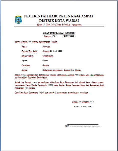 contoh surat keterangan domisili distrik kota waisai distrik kota waisai