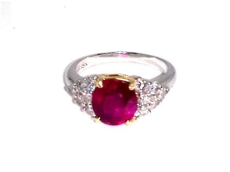 Ruby 3 05ct 18k white gold 3 05ct ruby 0 75 ct ring size 7 5