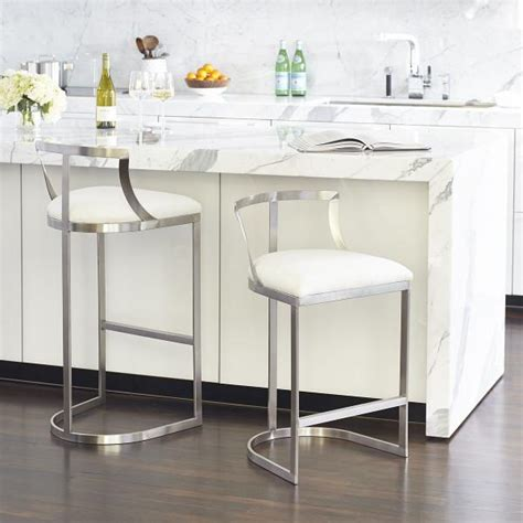 Silver And White Bar Stools silver base white cushion armless counter stool