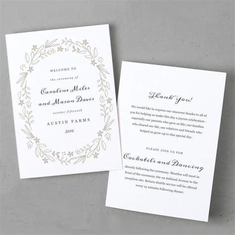 printable wedding program template order of service
