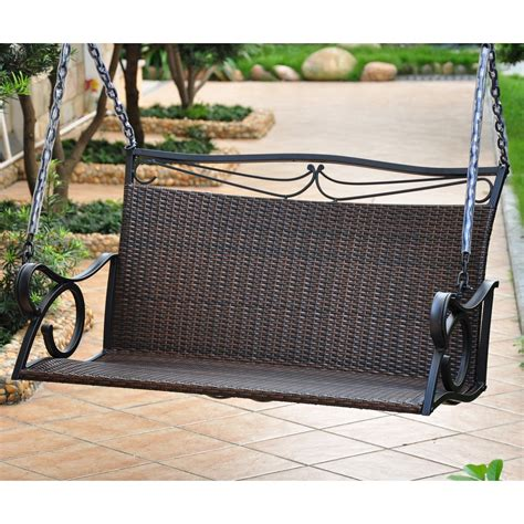 wicker outdoor swing international caravan lisbon resin wicker patio loveseat