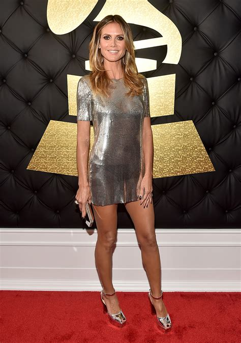 The Shiny Awards Tonight by Heidi Klum Wears Shortest Dress At Grammys Shows