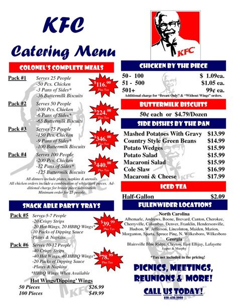 catering price list template kfc catering menu prices scope of work template