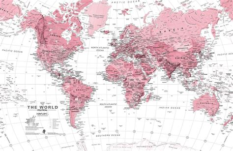 Pink And White World Map Wall Mural Murals Wallpaper