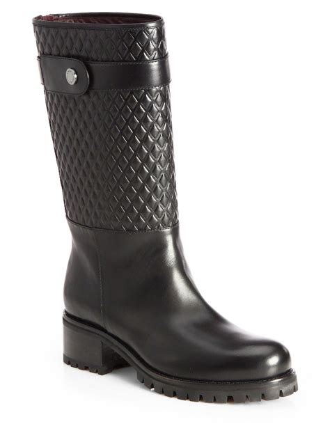 lug boots belstaff quilted leather lug boots in black lyst