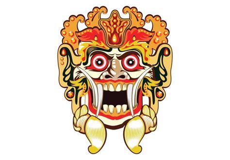 Masker Kesehatan Motif Non Mixcur barong bali mask vector free vector stock graphics images