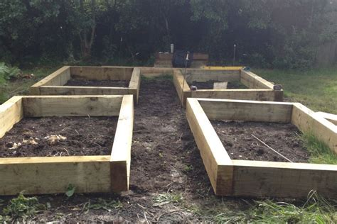 Railway Sleeper Raised Bed Kits by Four Raised Beds From New Eco Pine Railway Sleepers
