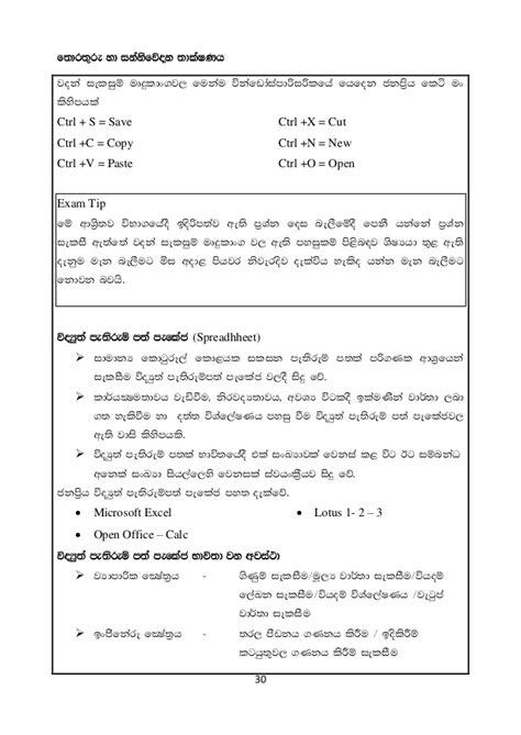 Grade 10 ICT Short Notes in Sinhala(2015)