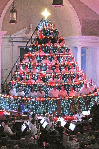 church hosts living christmas tree faith and values